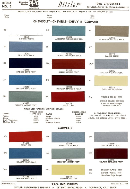 Honda Color Chart >> 1966 Chevrolet Chevelle ~ The 1966 Chevelle Reference CD